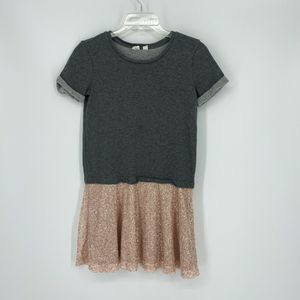 Gap Kids Sequin Dress Gray Top Pink Skirt Holiday